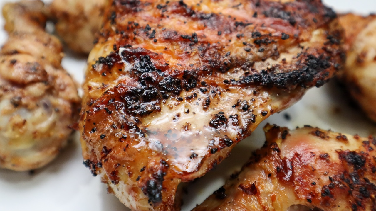 grilled chicken glistening with juices from the chicken