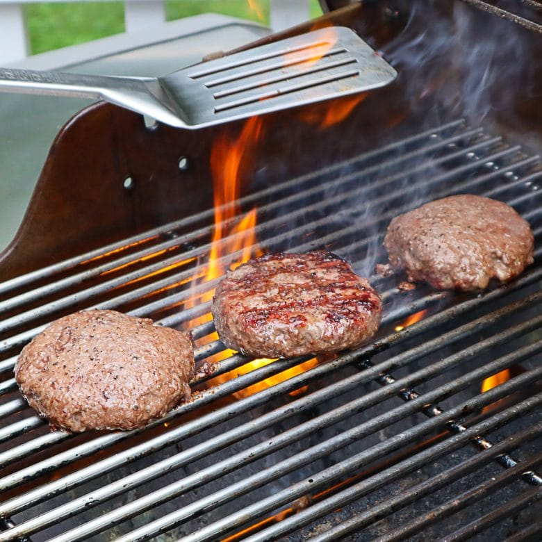 burgers being grilled