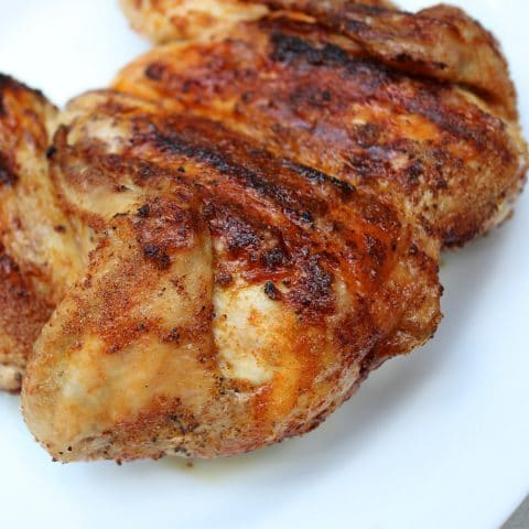 spatchcock chicken on a plate